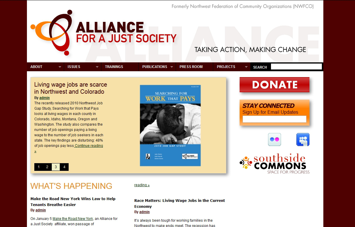 a screenshot of Alliance for a Just Society's new website I built on WordPress in 2010