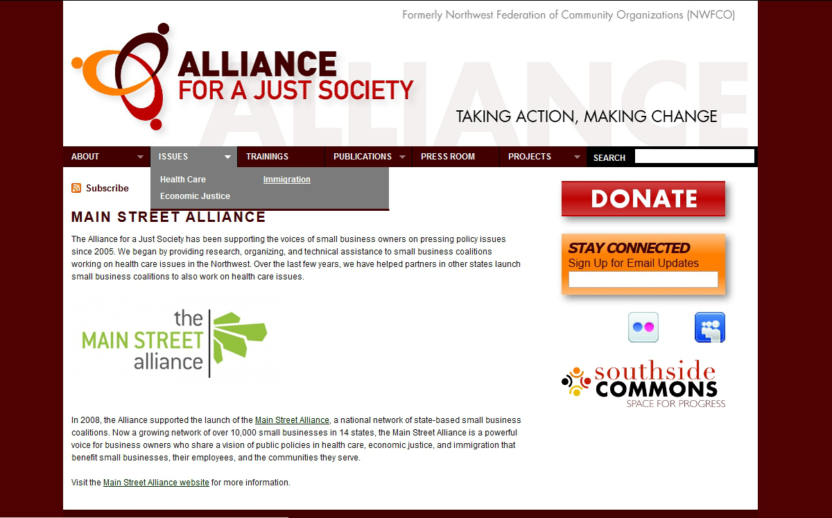 Screenshot of WordPress website I created for Alliance for a Just Society in 2010