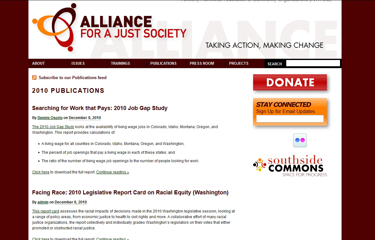 A screenshot of the WordPress website I made for the Alliance for a Just Society in 2010